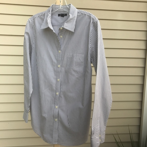 Lands' End Tops - Lands End - striped shirt (Gray/white), Size 10